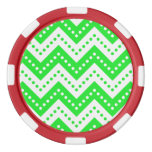 Verde de los lunares 7 de Chevron Juego De Fichas De Póquer