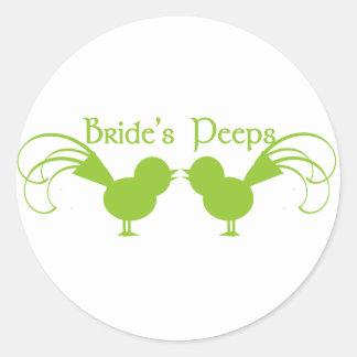 Verde de los píos de la novia pegatina redonda