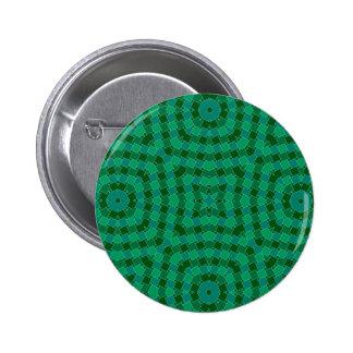 verde de los rectángulos del arte del kaleido pin redondo 5 cm