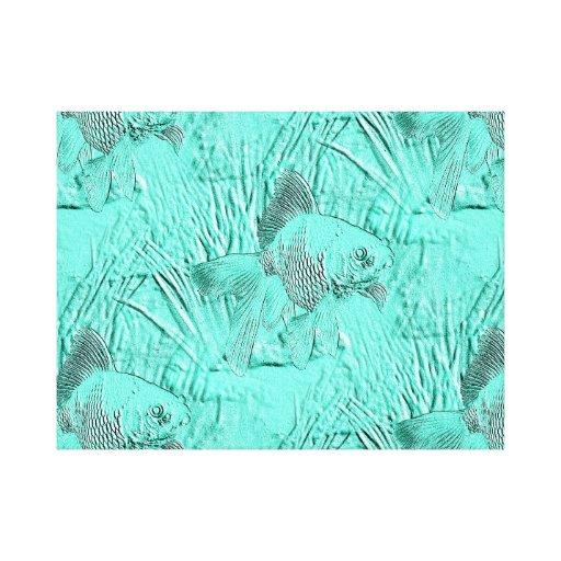 Verde de lujo de Seafoam del Goldfish Impresión De Lienzo