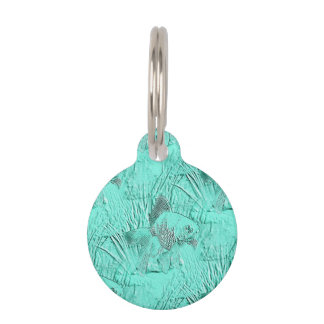 Verde de lujo de Seafoam del Goldfish Placas De Mascota