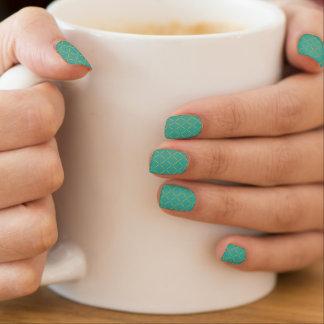 Verde de mar ligero acolchado oro elegante pegatina para uñas