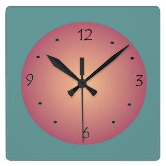 Verde de mar y reloj de Peach>Wall