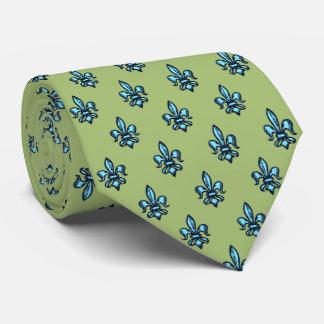 Verde de musgo heráldico de la flor de lis corbata personalizada