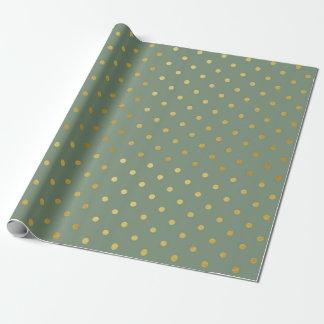 Verde de musgo moderno de los lunares de la hoja papel de regalo