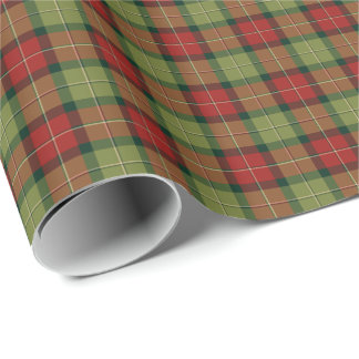 Verde de musgo y modelo rústico rojo de la tela papel de regalo