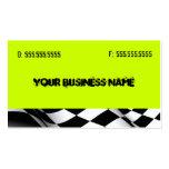 Verde de neón con la bandera plantillas de tarjeta de negocio