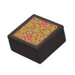 Verde de neón elegante de moda del damasco en rosa cajas de recuerdo de calidad