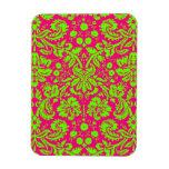Verde de neón elegante de moda del damasco en rosa imán rectangular