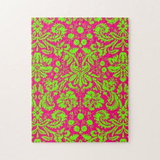 Verde de neón elegante de moda del damasco en rosa rompecabezas con fotos
