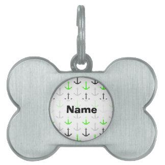 Verde de neón, gris, anclas; Náutico Placas De Nombre De Mascota