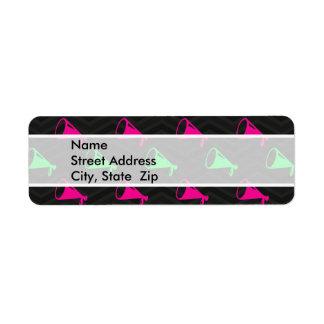 Verde de neón, rosa fuerte, animadora, Chevron neg Etiqueta De Remite