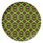 Verde de neón y modelo moderno del enrejado de plato de comida