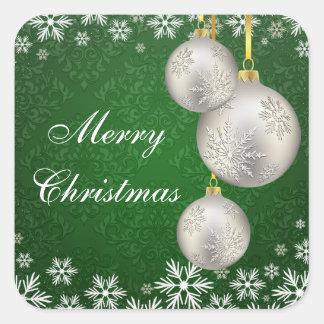 Verde de plata de las bolas del navidad del pegatina cuadrada