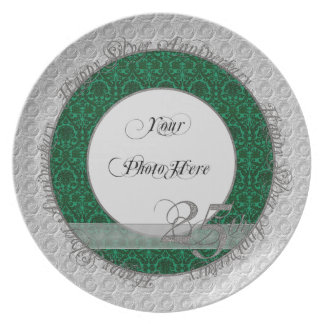 Verde de plata del damasco de la placa de la foto  plato de comida