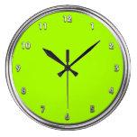 Verde de plata del neón del marco relojes