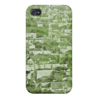 Verde de pueblo del vintage de Sf iPhone 4 Funda