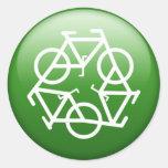 Verde de ReBicycle Etiquetas Redondas