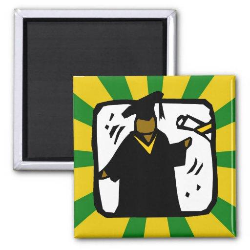 Verde de recepción graduado y oro del diploma (1) imán cuadrado