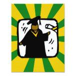 Verde de recepción graduado y oro del diploma (1) invitación 10,8 x 13,9 cm