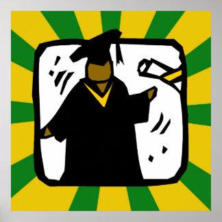 Verde de recepción graduado y oro del diploma (1) póster