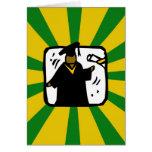 Verde de recepción graduado y oro del diploma (1) tarjeta de felicitación