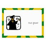 Verde de recepción graduado y oro del diploma (1) tarjetas de visita grandes