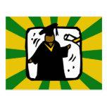 Verde de recepción graduado y oro del diploma (1) postal