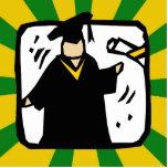 Verde de recepción graduado y oro del diploma (2) esculturas fotograficas