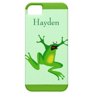 Verde de salto de la rana del dibujo animado salva iPhone 5 cobertura