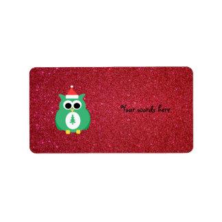 Verde de santa del búho con brillo rojo etiqueta de dirección