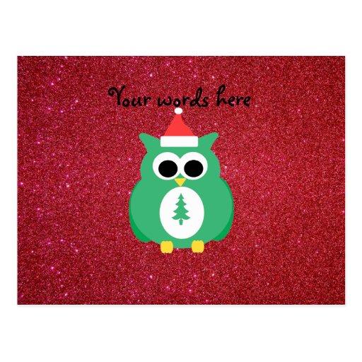 Verde de santa del búho con brillo rojo tarjetas postales