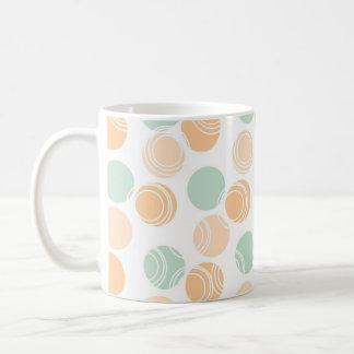 Verde de Seafoam, melocotón, y lunares blancos Tazas De Café