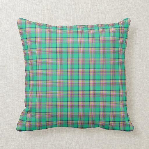 Verde de Seafoam y tela escocesa femenina rosada Cojín
