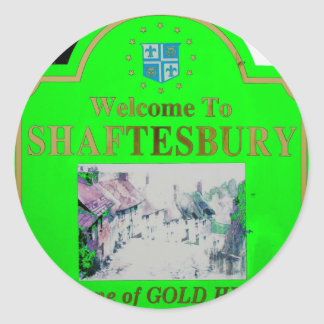 Verde de Shaftesbury Pegatina Redonda