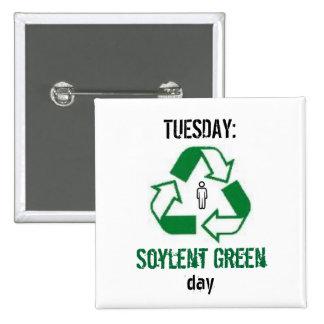 Verde de Soylent Pin Cuadrada 5 Cm