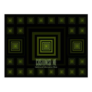 Verde de Squareception (modelo cuadrado) Tarjetas Postales