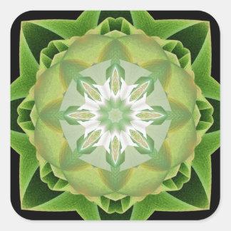 Verde de Stardust del fractal Pegatina Cuadrada