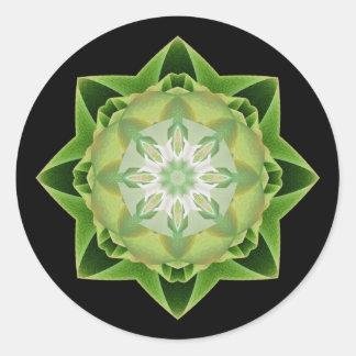 Verde de Stardust del fractal Pegatina Redonda