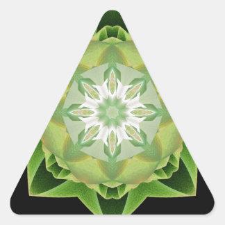 Verde de Stardust del fractal Pegatina Triangular