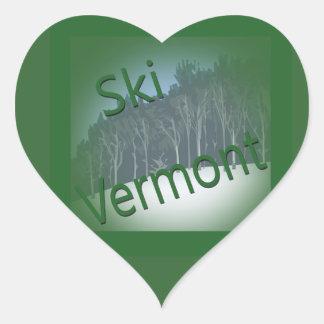 Verde de Vermont del esquí Pegatina En Forma De Corazón
