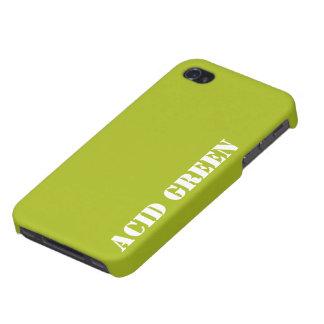 Verde del ácido iPhone 4 carcasas