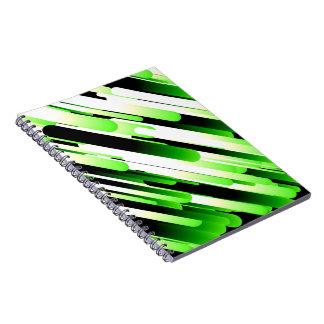 Verde del alto contraste libretas espirales