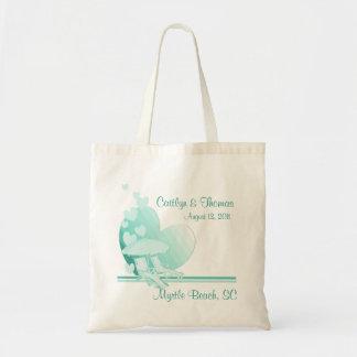 Verde del amor de la orilla bolsa de mano