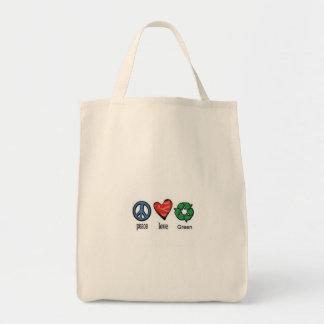 Verde del amor de la paz bolsa