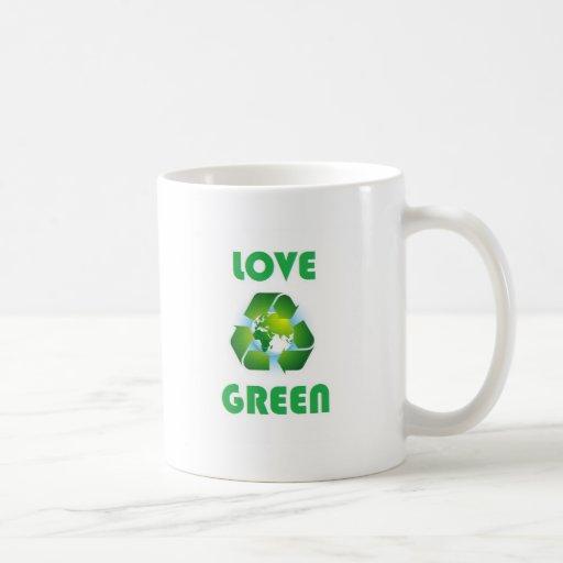Verde del amor taza básica blanca
