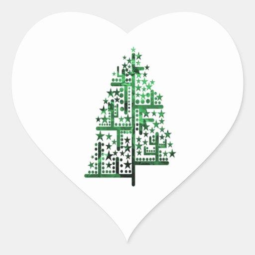 Verde del árbol de navidad de las formas pegatina en forma de corazón