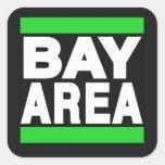 Verde del área de la bahía calcomanía cuadradas