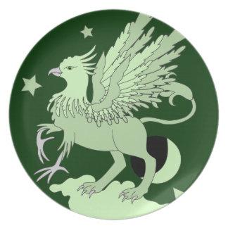 Verde del arte de Gryphon Platos De Comidas