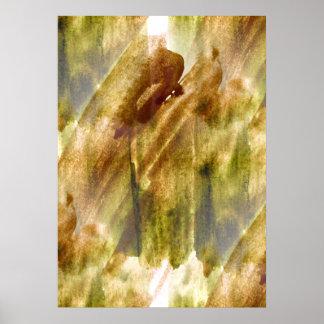 verde del arte, fondo marrón de la pintura de la m póster